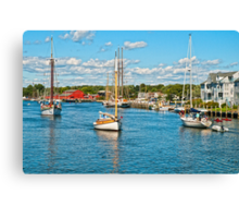 Boat traffic on the Connecticut River, Mystic Ct. USA. Canvas Print