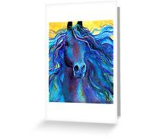 Blue Arabian Horse painting Svetlana Novikova Greeting Card