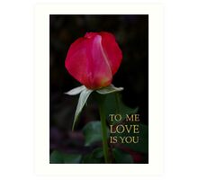 rose bud, me love you Art Print