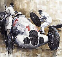 Nurburgring Pit Stop 1937 Hermann Lang MB W125 by Yuriy Shevchuk