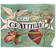 With much gratitude- a vintage tattoo inspired art print Poster