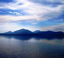 Forever Blue- view beyond Hells Gates towards the Gordon RIver - Strahan Tasmania. by Leigh McGree