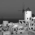 Windmills of Santorini ~ Black &amp; White by Lucinda Walter