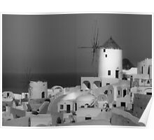 Windmills of Santorini ~ Black & White Poster