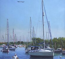 sailing boats at christchurch UK harbour by martyee