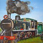 Train nearing Victoria Falls by Carole Robins