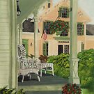 Patriotic Country Porch by Charlotte  Blanchard