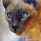 Watercolor Siamese Cat painting #2 Svetlana Novikova by Svetlana  Novikova