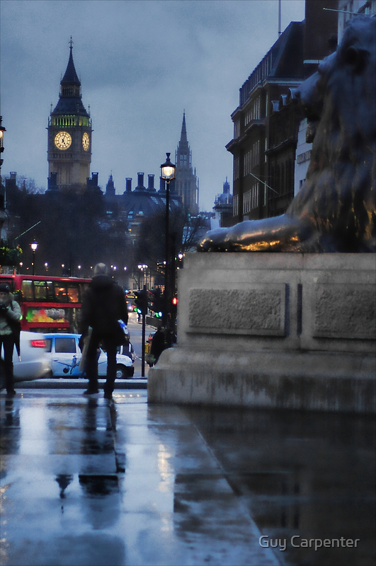 Looking down Whitehall in the rain by Guy Carpenter