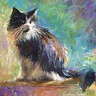 Impressionistic Tuxedo Cat painting Svetlana Novikova by Svetlana  Novikova