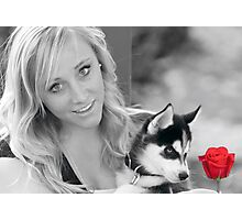 Beauty,Beast and the Red Rose Photographic Print