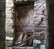 Old Barn Door in Italian Stone Village by Amos White