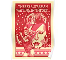 Red Bowie From Mars Poster