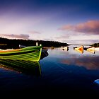 Boats at dusk on Lough Conn, Mayo, Ireland by Ciaran  Duignan