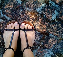 Gladiator sandals on the bricks by fourthangel