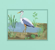 Great Blue Heron in a Marsh by Shae Leighland-Pence