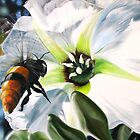 """Bee-ing There"" - large Mexican bee on a white blossom by James  Knowles"