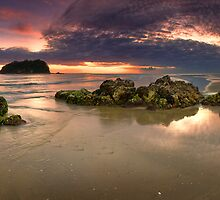 Motuotau Island dawn Rocks by Ken Wright