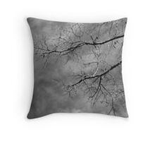 Tree silhouette on cloudy sky Throw Pillow