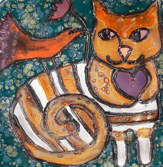 Peace Plate: Cat, Bird & Flower by Ann Marie Hoff