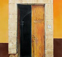 """""""Numero Siete"""" - oil painting of an old Mexican door by James  Knowles"""