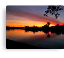 Sunset over Man Made Lake Canvas Print