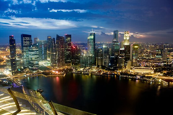 Singapore, 200m up on Skydeck, Marina Bay Sands by Gareth Spiller