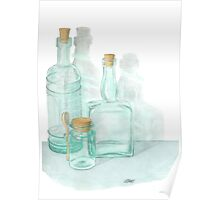 THE GLASS OF GLASSWARE - PENCIL AND WATERCOLOR Poster
