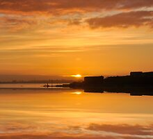 Reflective Sunrise over the River Tagus , Lisbon , Portugal by Alex Hardie