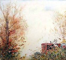 Retired tractor at rest by Neil Jones