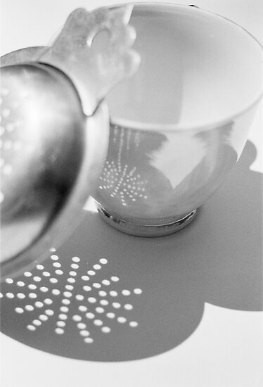 tea cup &amp; strainer by Janine Paris