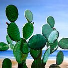 """Nopal de la Mar"" - oil painting of a cactus on the beach by James  Knowles"