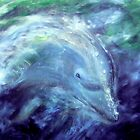 """Out of the Blue"" - oil painting of a Dolphin by James  Knowles"