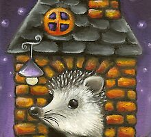 Hedgehog in his cosy little home by tanyabond