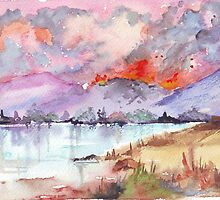 Veld Fire over the mountains by Maree  Clarkson