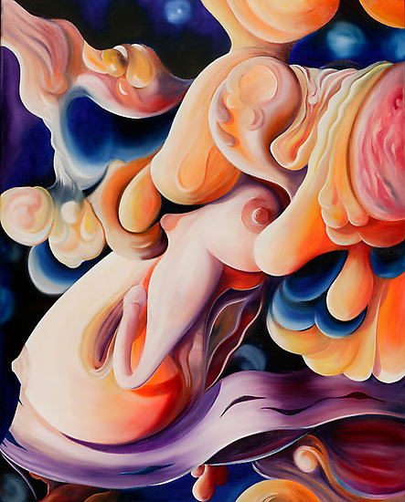 """""""Celebration of Procreation"""" - abstract expressionistic oil painting by James  Knowles"""