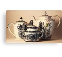 Three Blue Tea pots Canvas Print