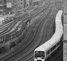 inner city train. by bared