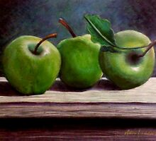 Still Life - 3 Green Apples by Andy Liberto