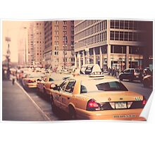 A Row of New York Cabs. Poster