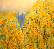 Forsythia. 36 x 36. Acrylic Painting. by csoccio100