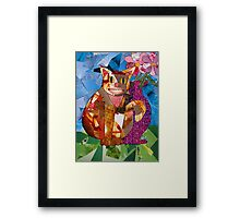 Happy Cat with Vase Framed Print