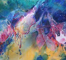 Watercolour: Rainbow of Fuchsias by Marion Chapman