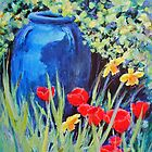 Blue Urn and Spring Flowers by Patricia Sabin