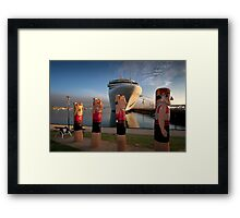 Bollards and Silver Spirit - Geelong Framed Print