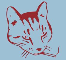 Party Cat (Red on Light Blue) by ChrisMMiller