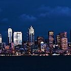 Downtown Seattle in Blue by Leigh Stone