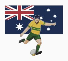 rugby player running kicking ball australia flag by patrimonio