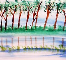 10 trees lined up along the river bank in reflection , in watercolor by Anna  Lewis