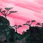 Africa series of pink sunset with trees on hill in black , watercolor by Anna  Lewis